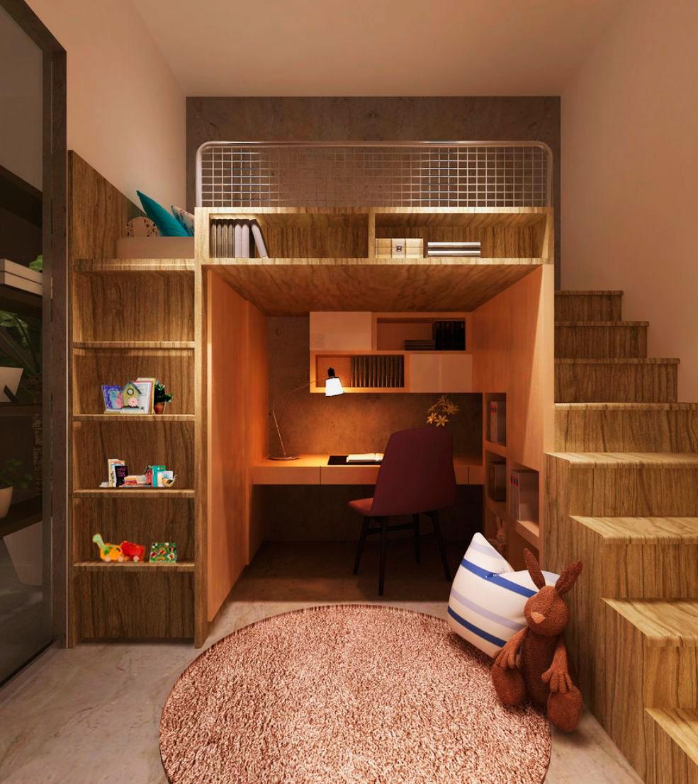 Как сделать спальню под потолком 760