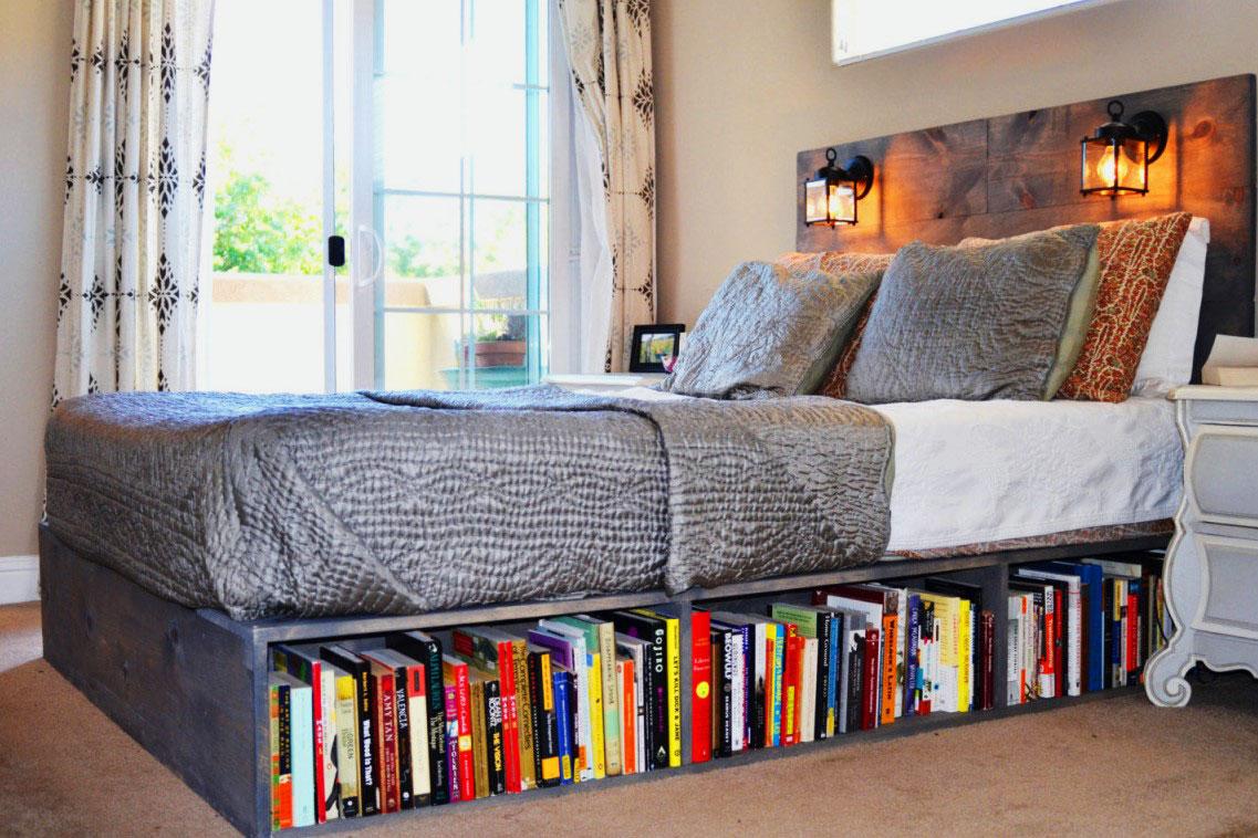 Кровать с полками своими рука