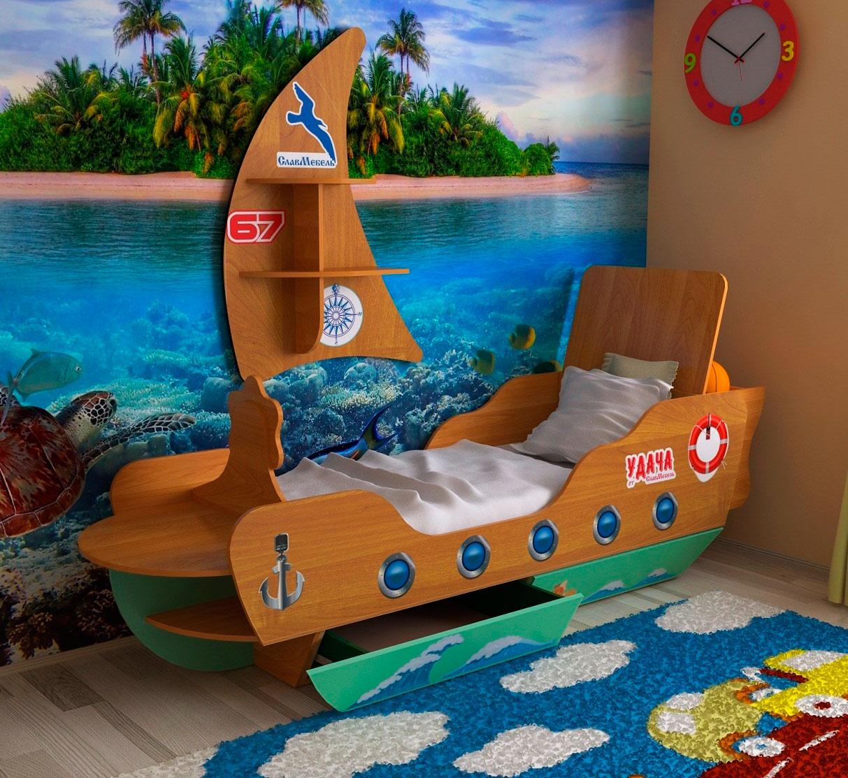 Детская кровать корабль фото