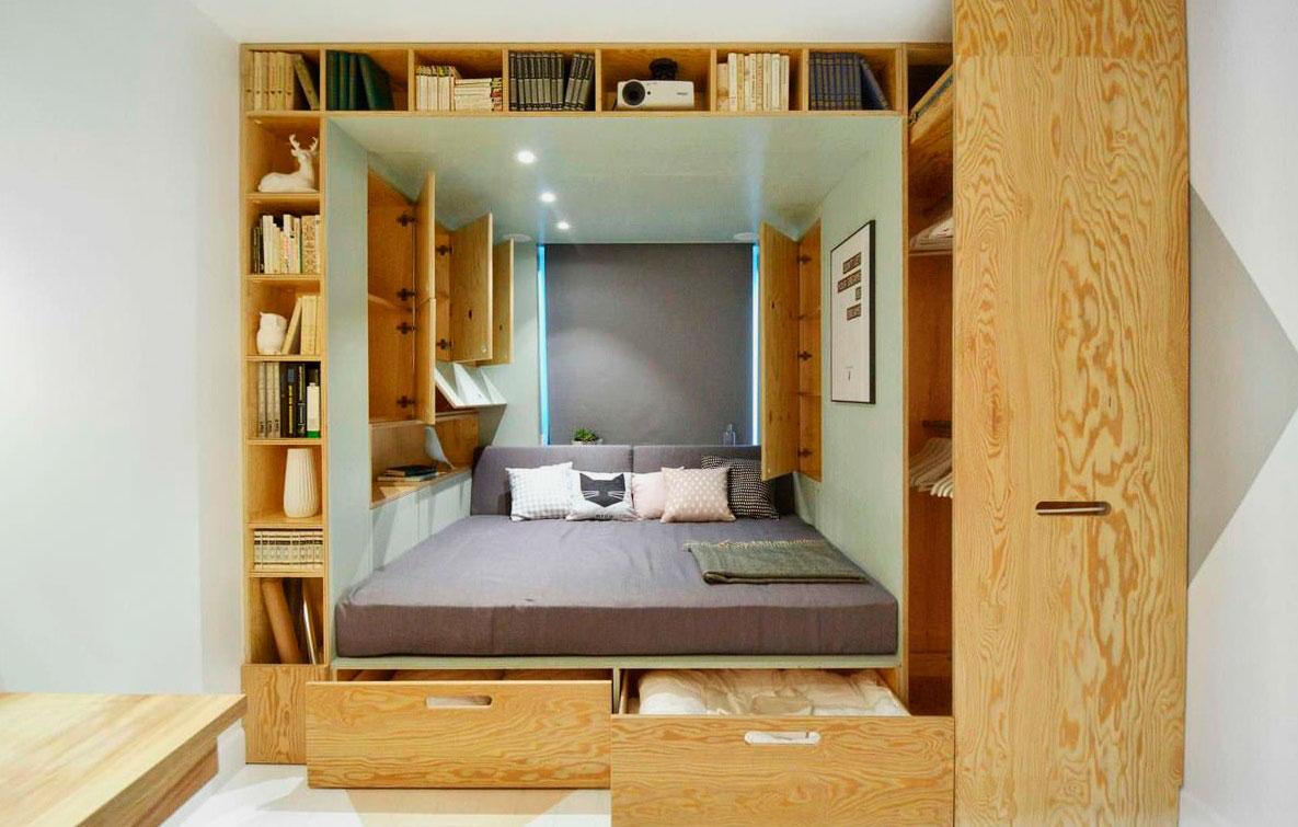Кровать на подиуме своими руками и шкаф гардеробная