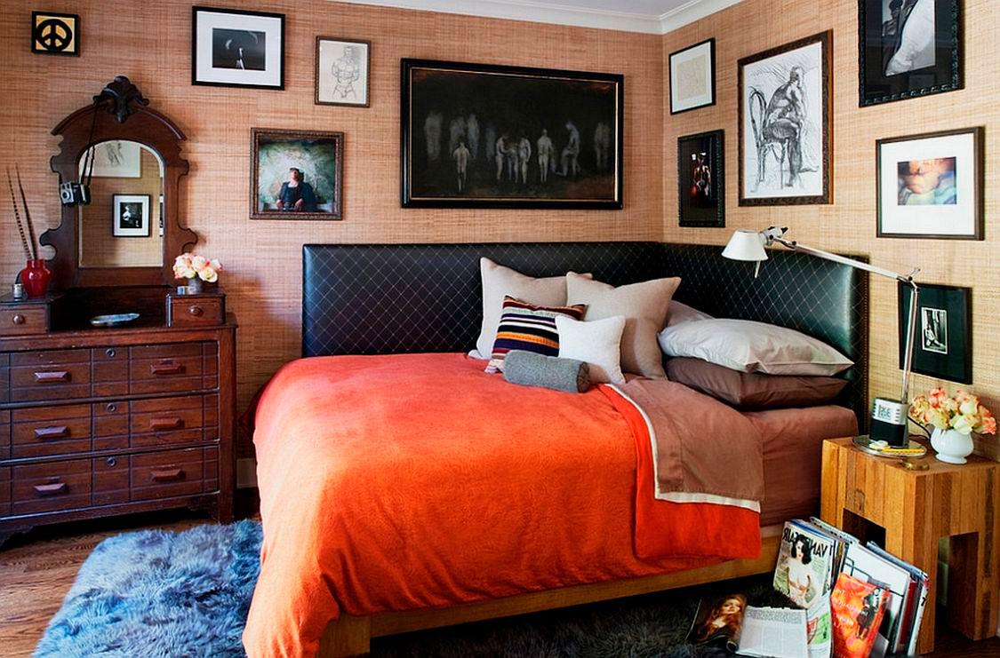 Дизайны спален с кроватью у стены