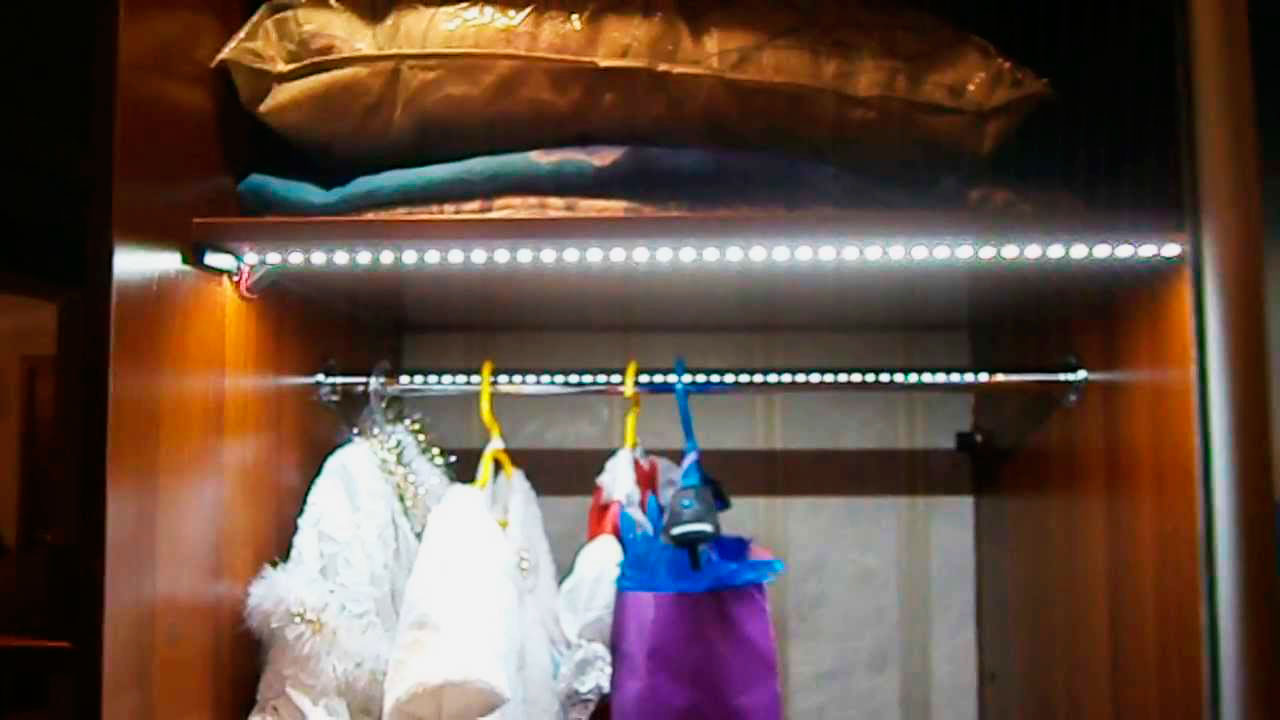 Подсветка своими руками в шкаф купе