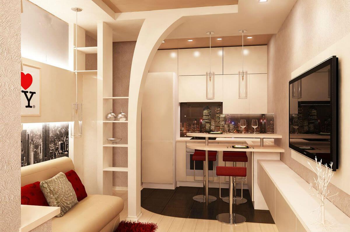 Дизайн кухонных столов и стульев маломерных кухни c
